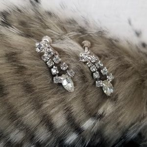 Vintage Rhinestone Screw-back Dangle Earrings